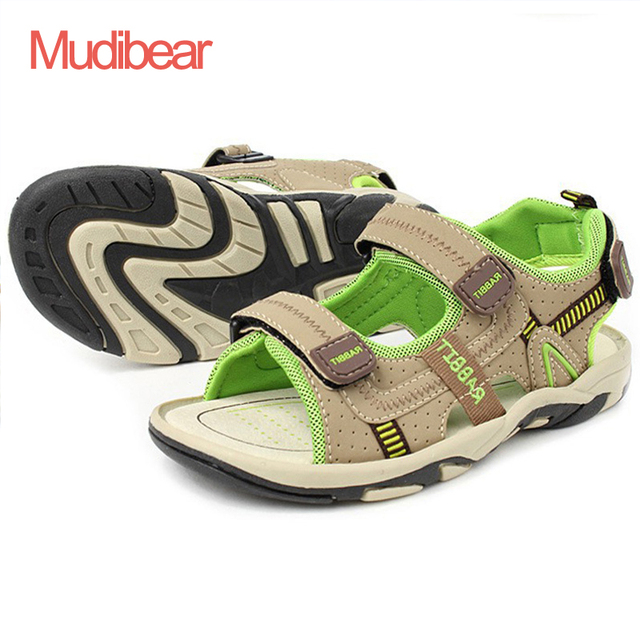 Children Beach Shoes Summer New Kids Sandals Leather Wear Baby Casual Flat Shoes Top Boy Shoe Tide Hook & Loop Men 3 Colors Size