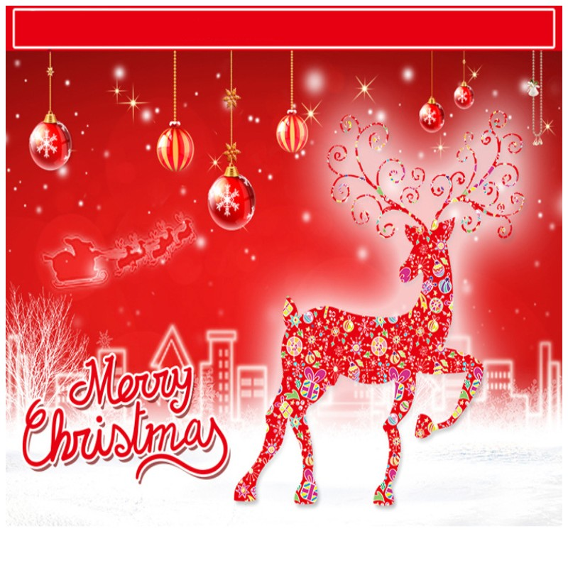 2pcs Christmas Gifts Elk Glass Doors Windows Festive Decoration ...