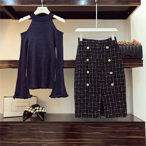 Chic Tweed Skirt 2 Piece set Women Fall Winter Ins Fashion Sexy Bare Shoulders Knit Sweater + Button Plaid Split Tweed Skirt Set Lahore