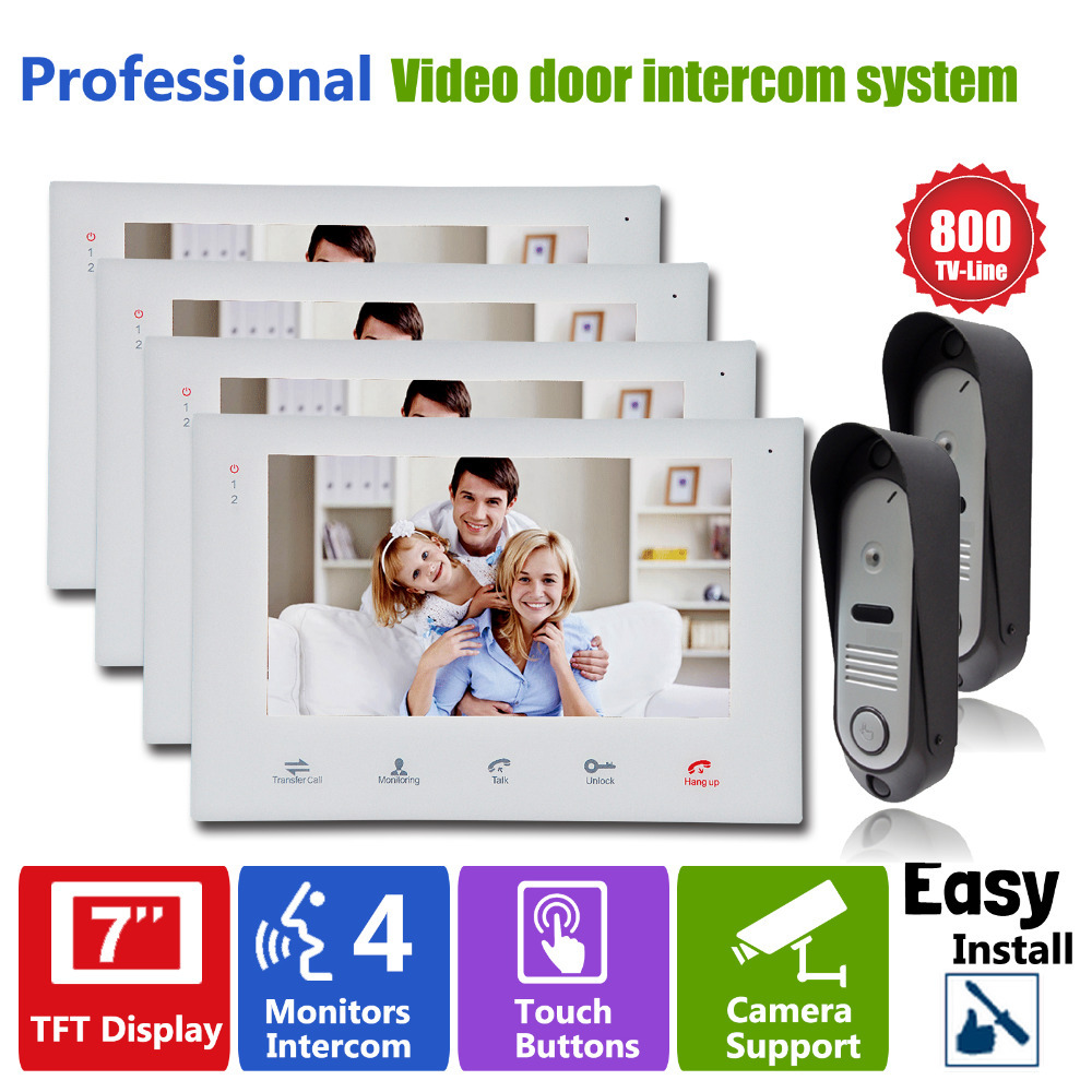 Homefong7 LCD Touch Key Monitor  Video Door Phone Intercom System with IR Camera with Doorbell Home Entry Intercom Night Vision 1 camera 3 monitor wireless video door phone doorbell intercom with touch key camera ir rainproof home video intercom system 1v3