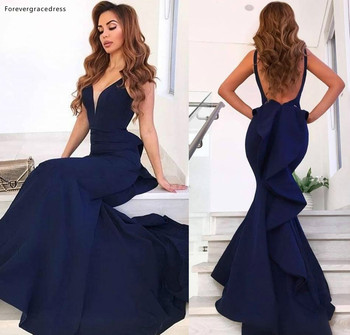 2019 Cheap Navy Blue Long Prom Dress Mermaid Open Back Formal Pageant Holidays Wear Graduation Evening Party Gown Custom Made