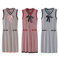Runway British New Knit Dresses Summer Dress Red Party Bows Sleeveless Knitted Dresses Women Clothes Young Ladies Vestido NS761