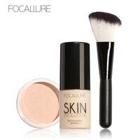 3 Pcs 1 Set Brand Focallure Base Makeup Set Liquid Foundation Loose Powder Blush Brush