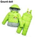 Девочка мальчик зимняя одежда набор сгущает вниз перо снег носить малыша комбинезоны куртка детская вниз и парки Подходит 6-24 месяц