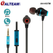 High hybrid twin driver music listening flat cable in ear earphone with microphone for cell phone