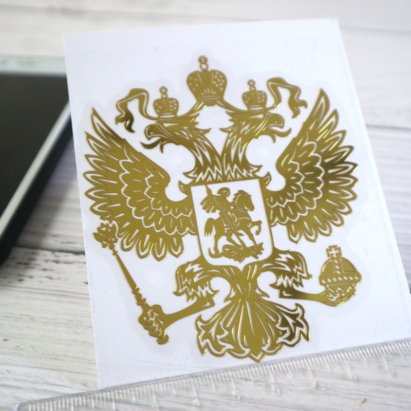 CK2725#34*39 Mm 3D Coat Of Arms Of Russia Nickel Metal Car Sticker Russian Federation Eagle Emblem Car Auto Stickers For Car