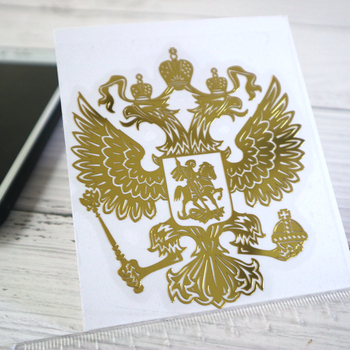 CK2725#34*39 mm 3D Coat of Arms Russia Nickel Metal car sticker Russian Federation Eagle Emblem auto stickers for