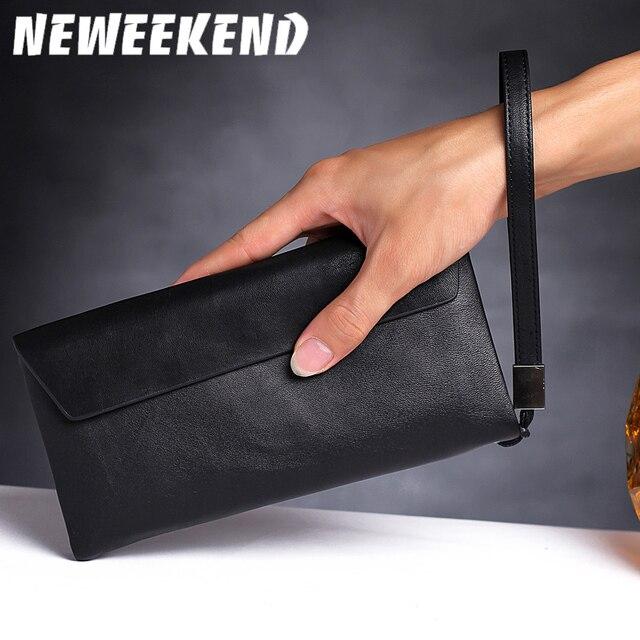 Genuine Real Leather Wallets Handbag Business Card Holder Coin Purse Pocket Male Men S Long Zipper Clutch