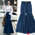 New European Fashion Spring Women Blue Brown Solid Wide Leg Pants with Patchwork & Belt Elastic Waist Loose Stylish Trouser 2191