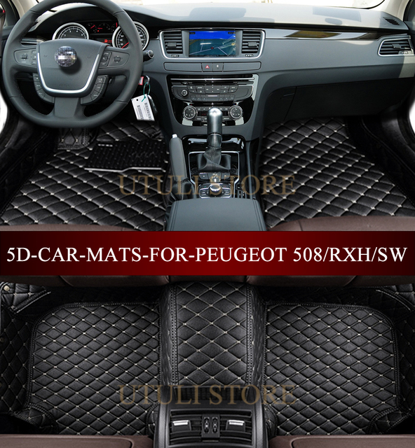 voiture tapis de sol pour peugeot 508 sw rxh 2010 2017 3d custom fit voiture style tous les. Black Bedroom Furniture Sets. Home Design Ideas