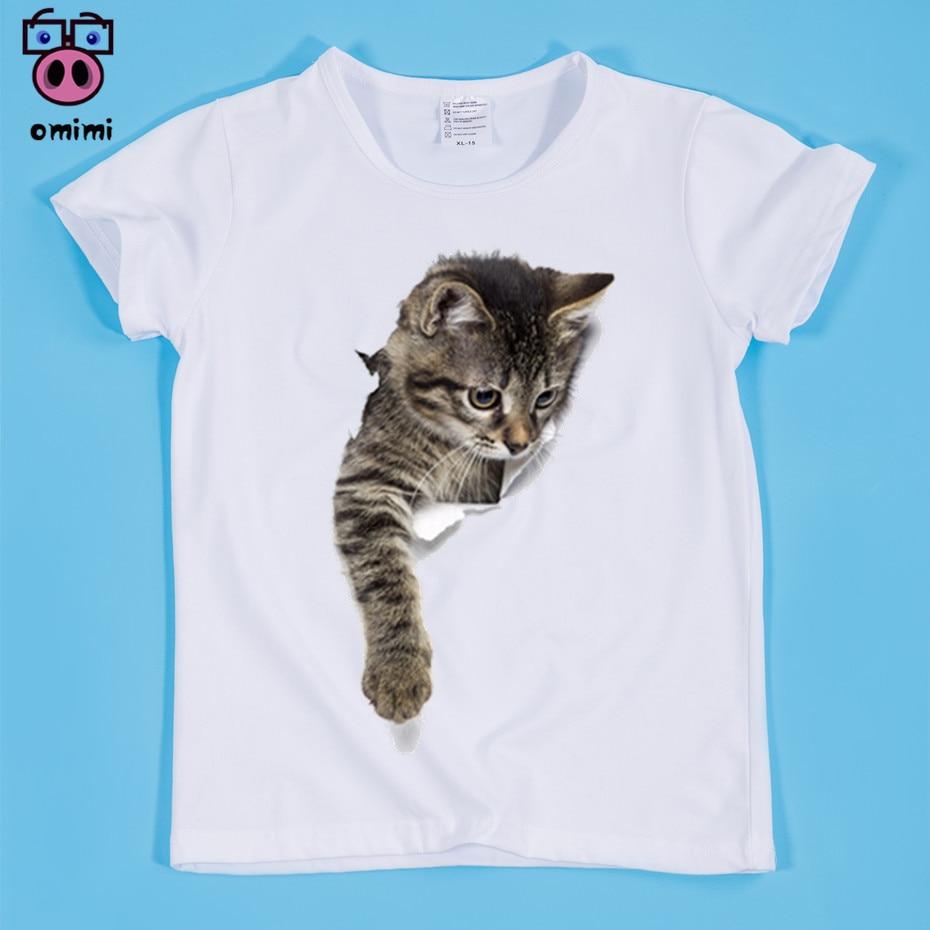 Camisetas divertidas de gato 3D para niños camisetas de animales para niños y niñas camisetas de buena calidad para niños