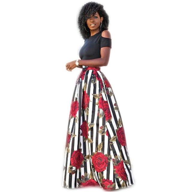 b4d744cc7d347 Traditional African Clothing Cold Shoulder Dress Short Sleeve Red Rose  Printed Two Piece Sexy Long Dresses Maxi Dresses