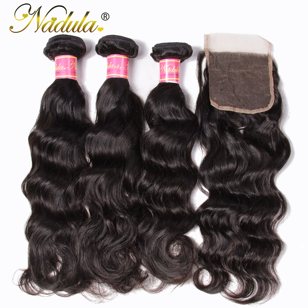 Nadula Hair 3Bundles Deal Indian Hair Natural Wave With Closure 8 26inch Remy Human Hair With