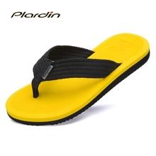 Plardin 2017 Color Del Caramelo Del Verano Flip Flop Sandalias de Playa Zapatos de Hombre Sandalias Planas Flip Flop Zapatos de los hombres Ocasionales De hombres