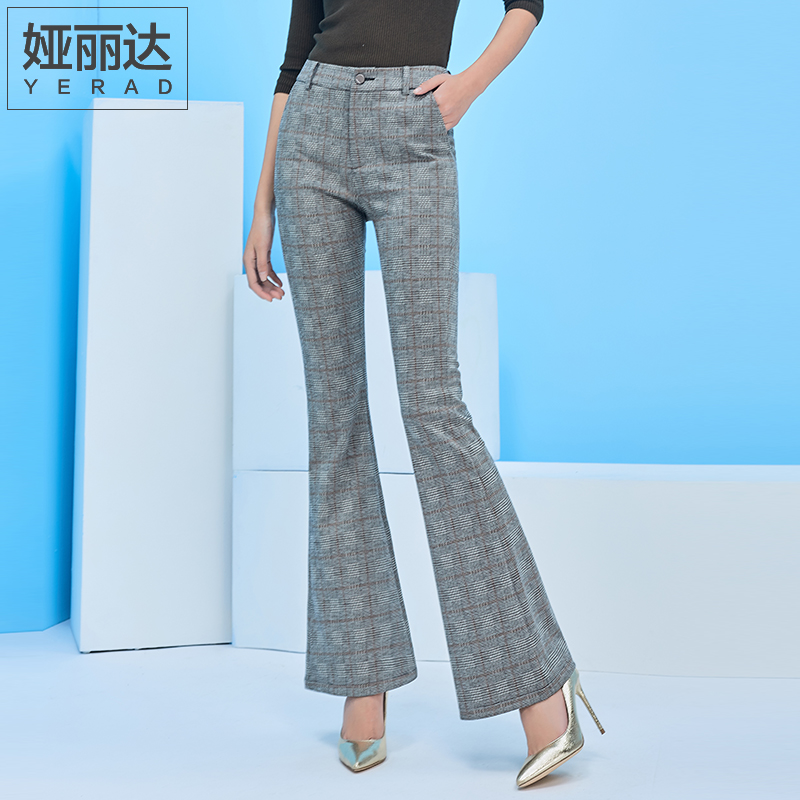 53376444db8 YERAD Plaid Flare Pants 2019 Newest Female Vintage Elegant Office Work Slim  Long Trousers Women Bell