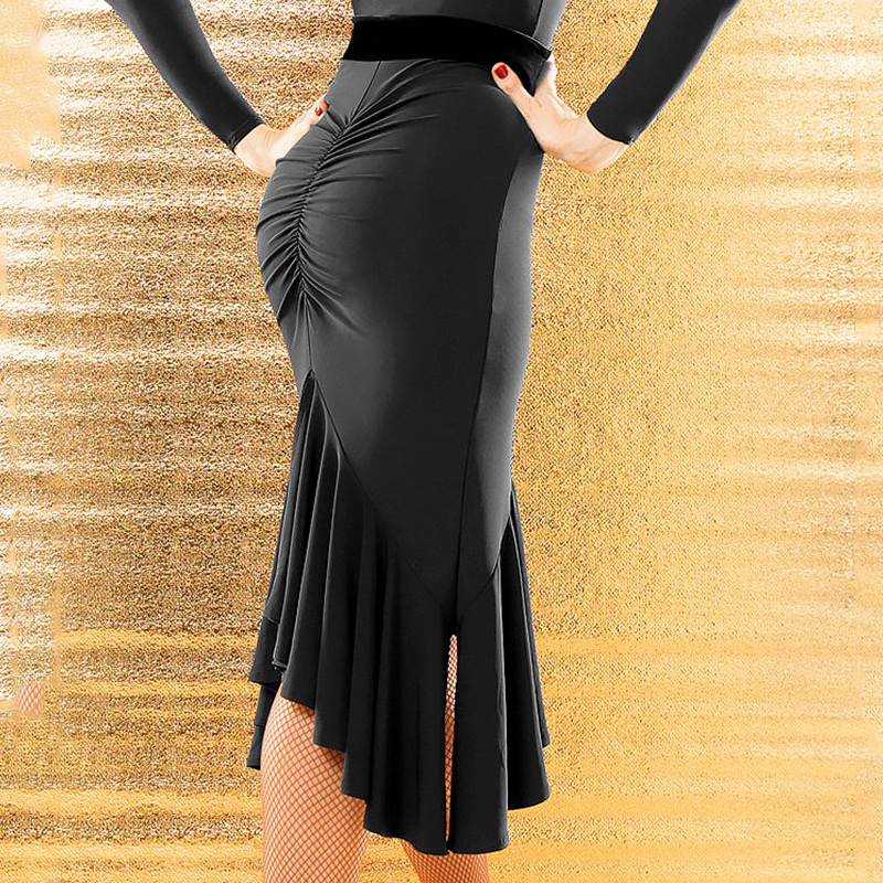 Latin Dance Skirt Women Black Folds Professional Dancing Skirt Of Ladies Flamenco Ballroom Performance Accept Customize