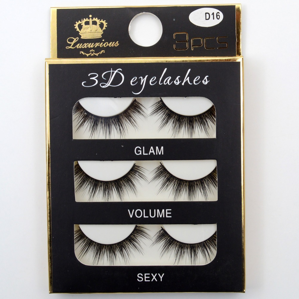 Visofree 3 Pairs 3D Eyelashes Thick Cross Natural False Eyelashes For Beauty Makeup Fake Eye Lashes Extension