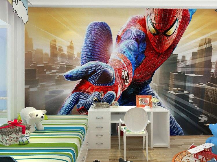 Marvel Wall Mural custom marvel hero wall mural spiderman kids boys children photo
