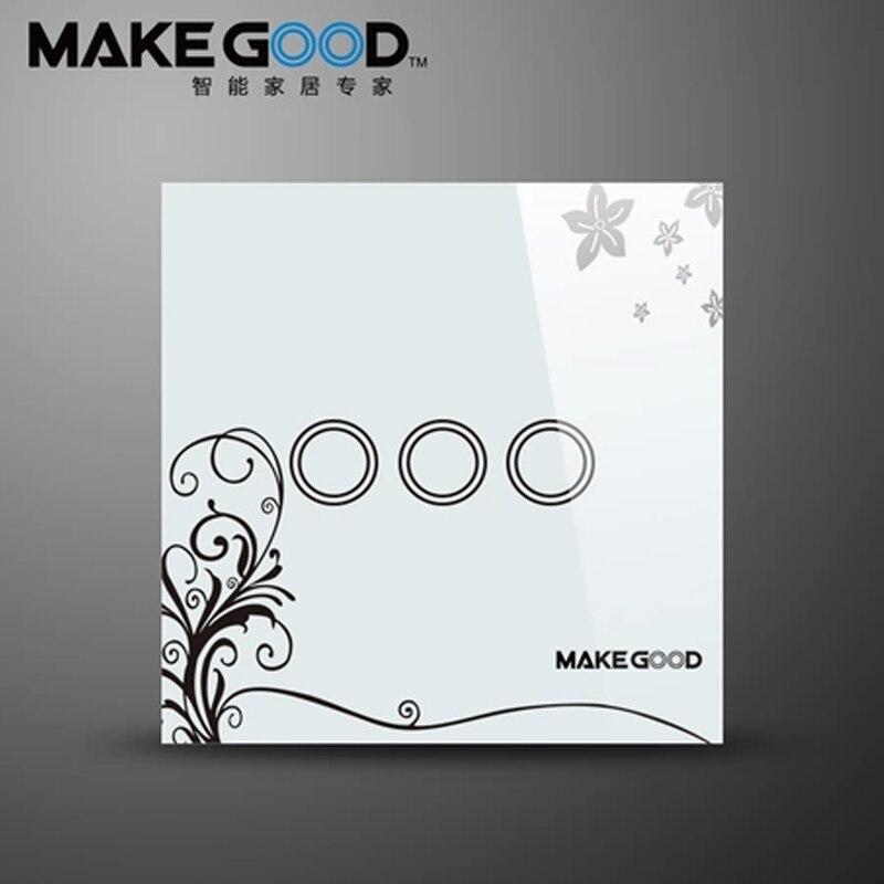 MakeGood interrupteur tactile 3 voies 1 voie cristal panneau d'interrupteur en verre, seul Feu Fil tactile interrupteur mural blanc