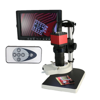 13MP HDMI VGA Industry Microscope Camera+8X 130X Zoom C mount Lens +56pcs Led +8 LCD Monitor for Industrial Lab PCB