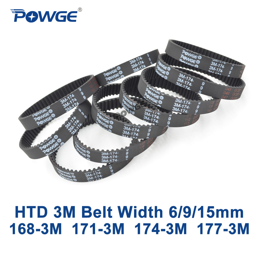 POWGE Arc HTD 3M Timing belt C= 168 171 174 177 width 6/9/15mm Teeth 56 57 58 59 HTD3M synchronous 168-3M 171-3M 174-3M 177-3M