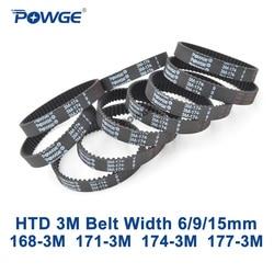 POWGE Arc HTD 3M Timing belt C= 168 171 174 177 width 6/9/15mm Teeth 56 57 58 59 HTD3M synchronous 168-3M 171-3M 174-3M 177-3M