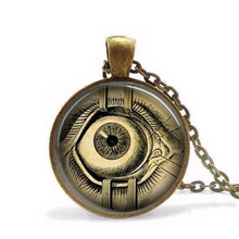 Free shipping Chain Steampunk Jewelry Human Anatomy Eyeball Necklace Evil Eye Science Medical Art Pendant with Ball Chain