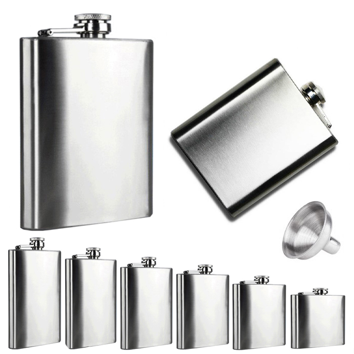 4 5 6 7 8 9 10 18 OZ Stainless Steel Hip Flask with Funnel Liquor Whisky Outdoor Portable Pocket Flasks Alcohol Bottle 5.28