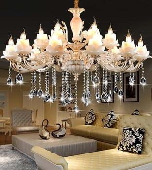 Zinc alloy crystal chandelier restaurant hall European chandelier living room lamp imitation jade chandelier modern chandeliers