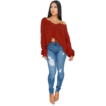 new hot-selling sweater women's front and back two wearing solid color hand-knitted pullover sweater low-cut irregular