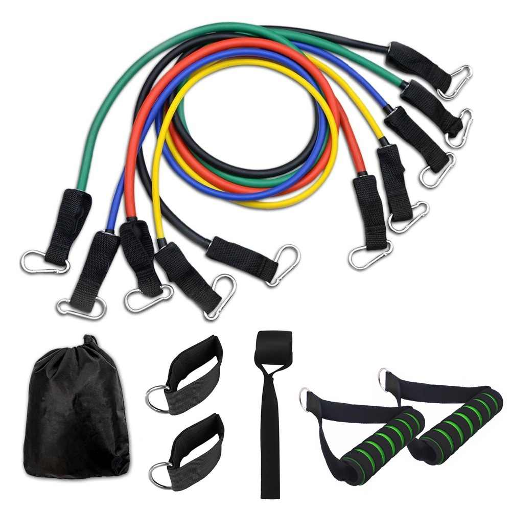 11pcs Resistance Band Set with Door Anchor Handles Ankle Straps ...