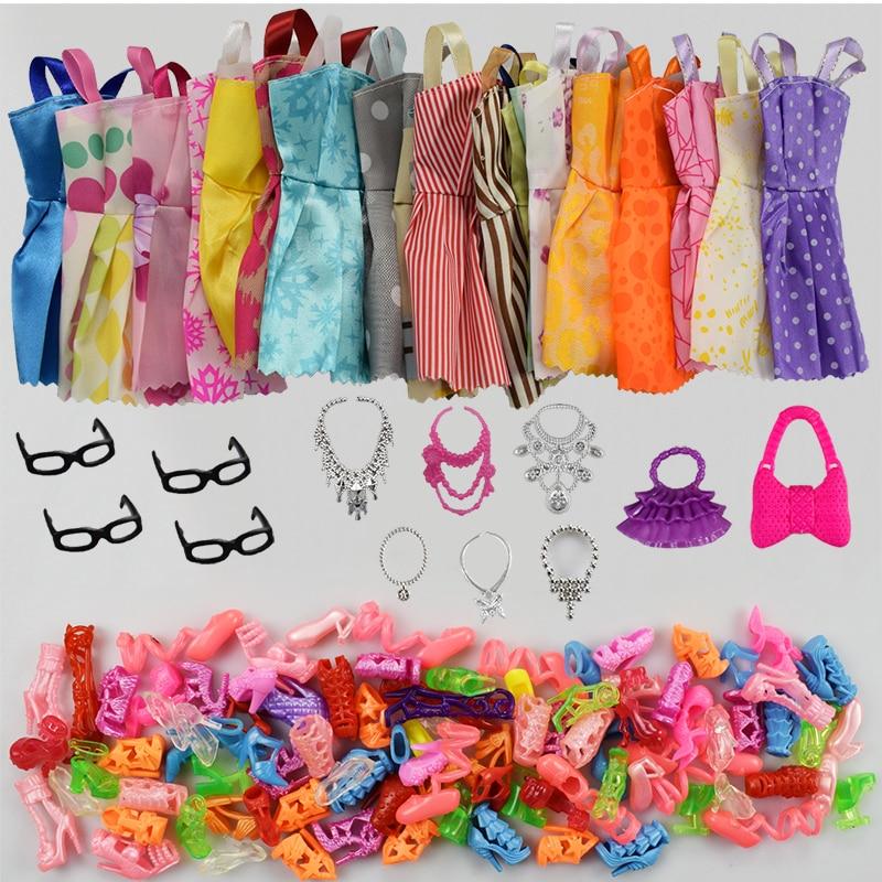 32 Item/Set Doll Accessories=10 Pcs Doll Clothes Dress+4 Glasses+6 Plastic Necklace+2 Handbag+10 Pairs Shoes for Barbie doll цена