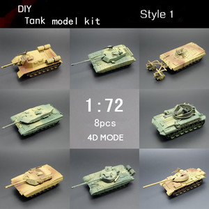 4D 8pcs/lot World War II Model Tanks 2style 1:72 Plastic Toy Tank Model Kit ww2 DIY Assembly Toys
