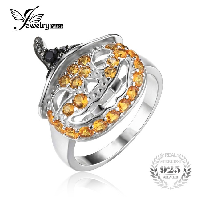 JewelryPalace Halloween Pumpkin 1.7ct Created Sapphire Genuine Black Spinel Finger Cocktail Ring 925 Sterling Silver