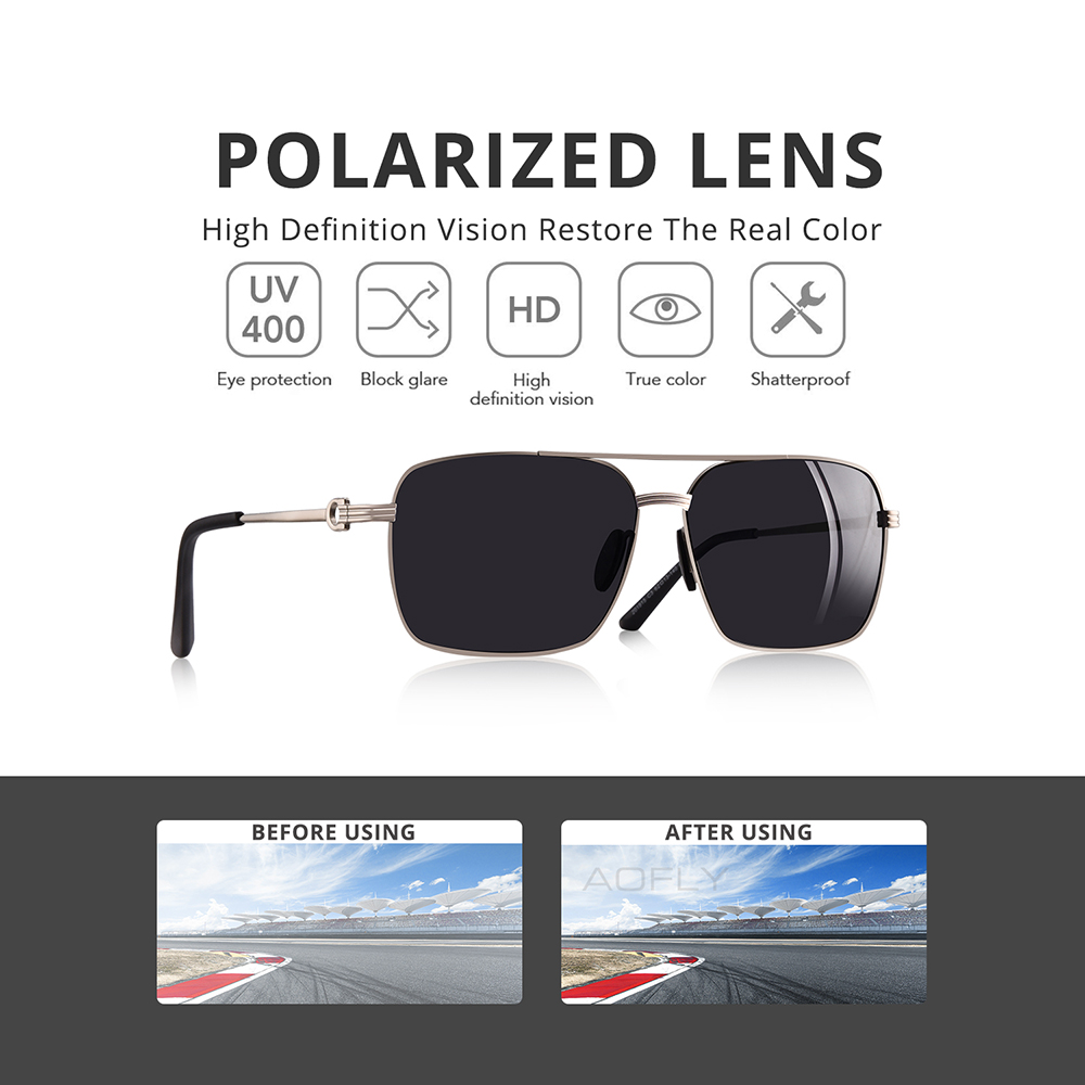Image 2 - AOFLY Brand Design Classic Polarized Sunglasses For Men Driving Shades Alloy Retro Frame Square Sunglasses Male zonnebril heren-in Men's Sunglasses from Apparel Accessories on AliExpress
