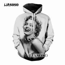3bc01c399382 LIASOSO 2018 3D Print Women Men Sweatshirts Hooded Hoodies Sweatshirts  Marilyn Monroe Pullover Harajuku Leisure Fashion