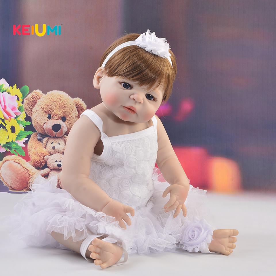 KEIUMI 57 cm Reborn Baby Doll Toys Full Body Silicone Vinyl 23'' Reborn Boneca Lovely Princess Babies Girl Toys Birthday Gifts real like 57 cm sleeping boneca reborn lifelike full body silicone vinyl reborn dolls babies princess baby doll toy for gifts