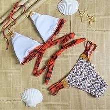 Snake Skin Print Bikini Set 2016 Strings Strappy Bandage Sexy Push Up Swimwear Women Bathing Suit Maillot De Bain Femme S-XL