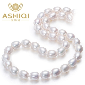 ASHIQI Real white natural freshwater pearl necklace  , 40 cm/45 cm pearl jewelry for women gift jiuduo exquisite pure natural freshwater pearl for women brooch for dance occasions