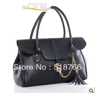 New Fashion 2013 Women Designer Bag Handbag Vintage Leather Tassel Simple OL Shoulder Bag Commuter Tote Free Shipping Retail