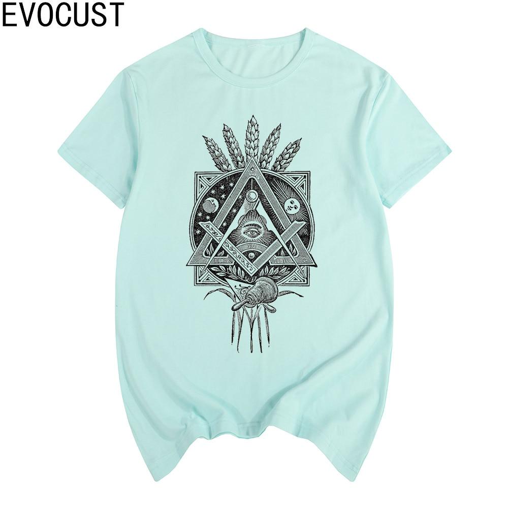 FREEMASON ILLUMINATI short sleeve T-shirt Top Lycra Cotton Men T shirt
