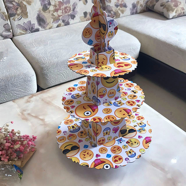 1pc 3 Tier Cute Emoji Cake Stand Cupcake Holder Cartoon Theme Kid Boy Birthday Party Supplies 24pcs Cupcakes