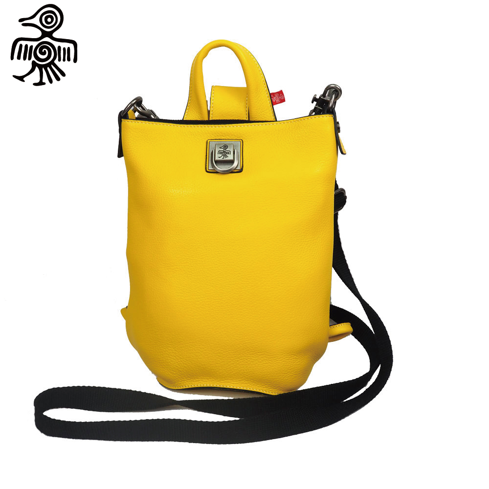 Sunbird Women Yellow Shoulder Bag Soft Genuine Leather Multi Larger-Capacity High quality Original design Casual Top handle bag yellow multi wear tube top