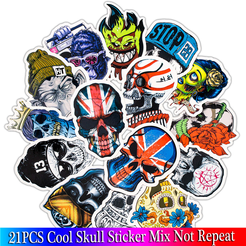 Bild von 21Pcs Punk Cool Skull Sticker For Luggage Car Laptop Bicycle Motorcycle Notebook Laptop Toys Stickers Pack Sets