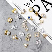 10pcs/lot Zircon gemstone Nail art jewelry alloy nails decoration Snowflakes/water/bow/Pendant rhinestone Manicure nail Charms