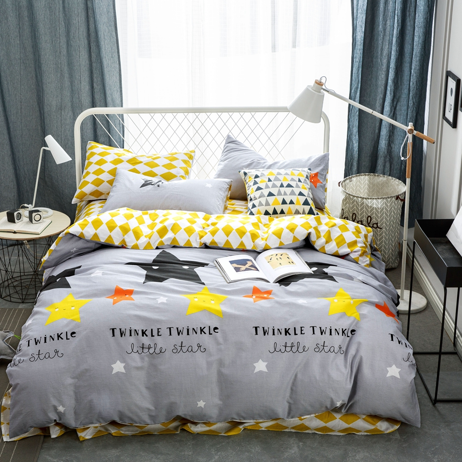 popular grey patterned sheetsbuy cheap grey patterned sheets lots  - grey duvet cover set with stars pattern cotton duvet cover yellow bedsheets