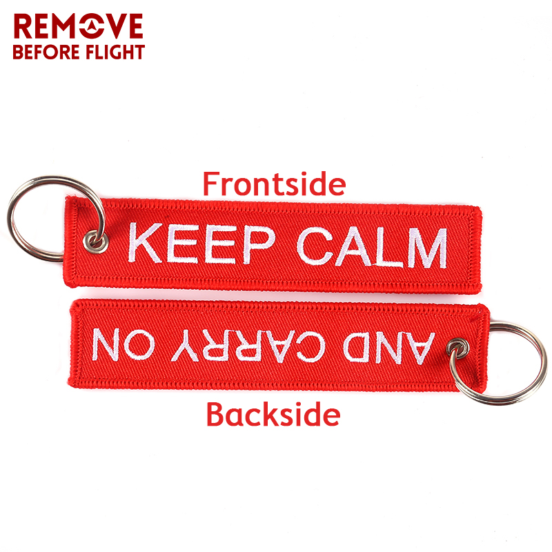 KEEP CALM AND CARRY ON Keychain Key Holder Cool Key Chain for Motorcycles and Cars Embroidery Key Fobs OEM Keychains 5 PCSLOT1