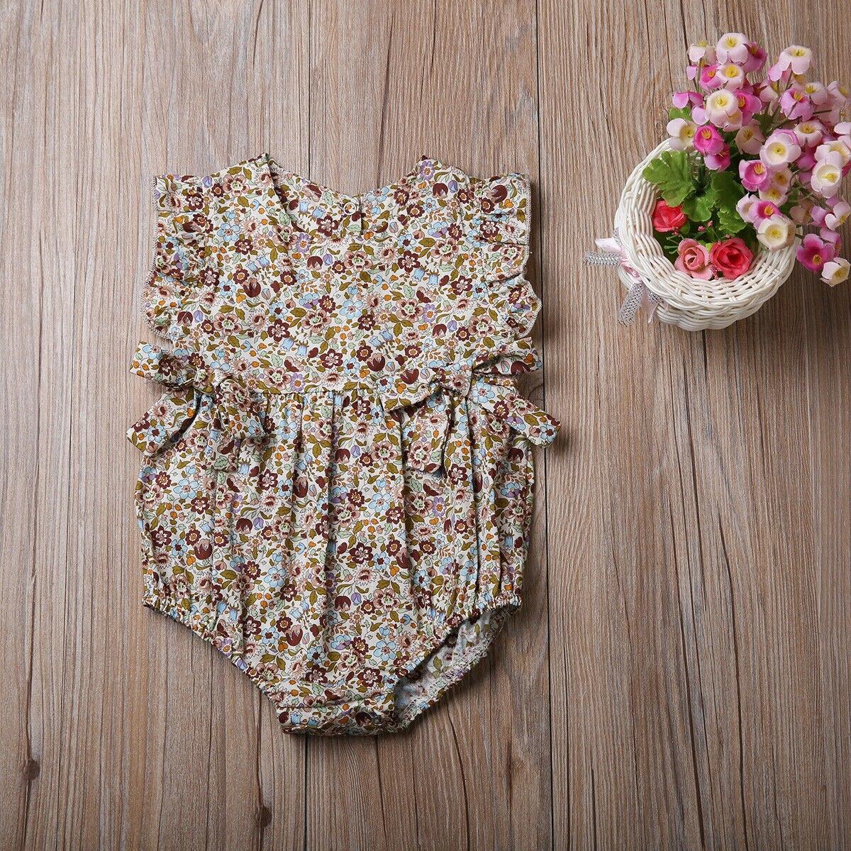 Summer Flower Baby Girls Ruffles Romper