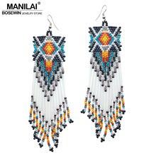 MANILAI Bohemian Handmade Beaded Long Tassel Earrings For Women Fashion Jewelry Multicolor Beads Statement Ethnic Drop