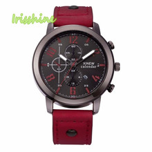 Irisshine i0571 Men's Leather Stainless Steel Sport Analog Quartz Date Wrist Watch Waterproof men watches gift